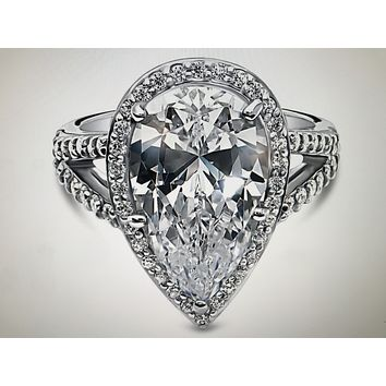 A Perfect 7CT Pear Cut Russian Lab Diamond Split Shank Engagement Ring