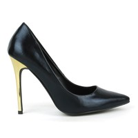 Fahrenheit Nicholas-05 Metallic Single Sole Pumps in Black @ ippolitan.com