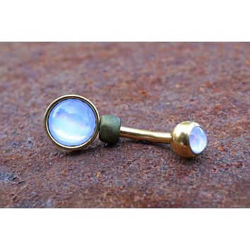 Illuminating Glowing Clear Gold Round Belly Button Ring