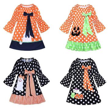 Halloween Costumes Baby Girl Clothes Children Pumpkin Dress Dot Ghost Girl's Dresses Blouses 100% Cotton Outfit 1 2 3 4 5 6 Year