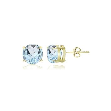 Gold Tone over Sterling Silver Blue Topaz 4mm Round Stud Earrings