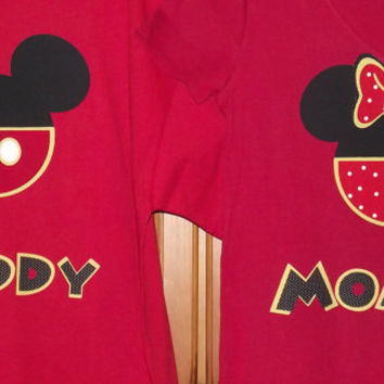 Minnie Mickey Mouse Clubhouse - Disney Birthday Party Custom Red Black Yellow V-Neck T-Shirt Personalized Applique Tee Shirt Top