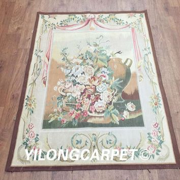 Yilong 3.1'x4.2' customized flat weave handmade french wool aubusson style wall tapestry (Au38-3.1x4.2)
