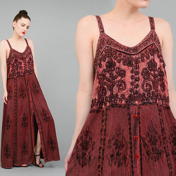 FALL SALE Vintage 90s Brown Embroidered Grunge Sundress India Boho Gypsy Button Up Spaghetti Strap Maxi Dress Small Medium S M