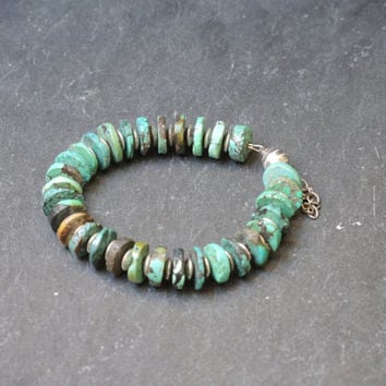 Turquoise bracelet, handmade gemstone beaded bracelet of turquoise (no howlite) and sterling silver, with a magnetic clasp and safety chain