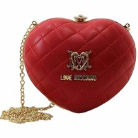 Love Moschino Women's Red Quilted Heart Kiss Lock Crossbody Handbag