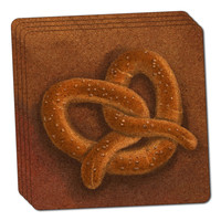 German Soft Pretzel Thin Cork Coaster Set of 4