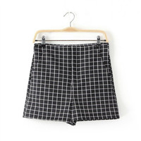 Summer Style Print Mosaic Casual Plaid Pants Shorts [4918040900]