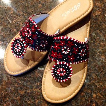 Jack Rogers inspired sandals that are hand painted in garnet black and white.