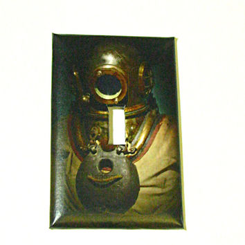 Light Switch Cover - Light Switch Plate Vintage Dive Helmet Suit Nautical