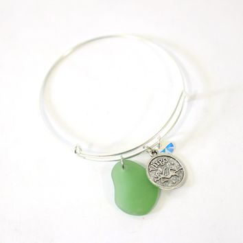 Silver Virgo Bracelet - Green Sea Glass, Swarovski Teardrop and Antique Silver - Simple Zodiac Accessory - One Size Fits All - Zodiacharm - Clay Space