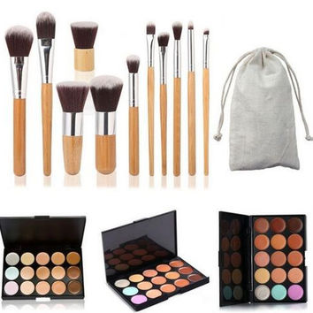 【Buy 1 Get 1 FREE 】Profession 15 Colors Contour Face Cream Makeup Concealer Palette + 11PC Bamboo Brush Set  Womens Gift