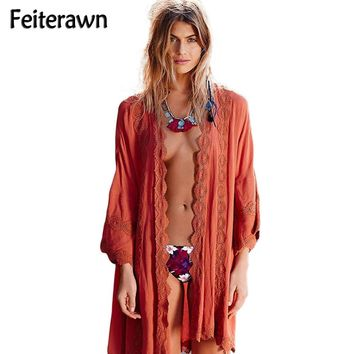 Feiterawn 2017 Women Sexy Loose Swimwear Rust Red Embroidered Praia Beachwear Kaftan Swimsuit Bikini Cover Up DL42150