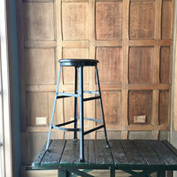 Industrial Stool, Vintage Wood Top Industrial Shop Stool, Drafting Stool, Bar Stool, Tall Metal Stool