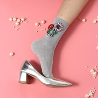 Fashion breathable embroidery large flower sequins cotton socks on the socks
