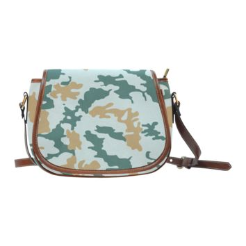 Women Shoulder Bag Green And Brown Camouflage Saddle Bag Large