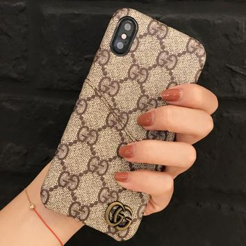 GUCCI Fashion New More Letter Leather Case IPhone Couple Protective Cover Phone Case Khaki