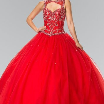 Red quinceanera ball gown dress  #gl2351