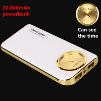 2016 New 2N1 Classic Dial Power Bank  Large Capacity 20000mAh Portable External Battery Charger Powerbank For Smartphone