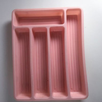 Vintage Pink Silverware Holder Retro Plastic Flatware Container Utensil Tray 1950 Kitchen Storage Drawer Organizer