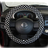 Steering wheel cover for wheel car accessories Polka dot black and white