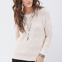 Dropped-Sleeve Textured Sweater