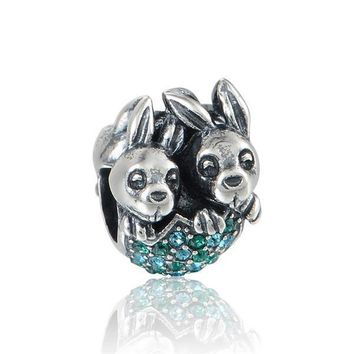 Charm with Swarovski Crystal For  S925 Sterling Silver fit Pandora European Style Necklace Bracelet