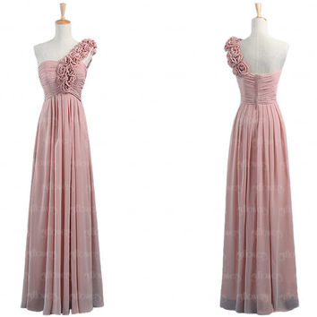 dusty pink bridesmaid dress, chiffon bridesmaid dress, long bridesmaid dresses, cheap bridesmaid dresses, one shoulder bridesmaid dresses