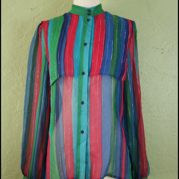 Vintage '80s Silk Metallic Striped Blouse// by StoriesForBoys