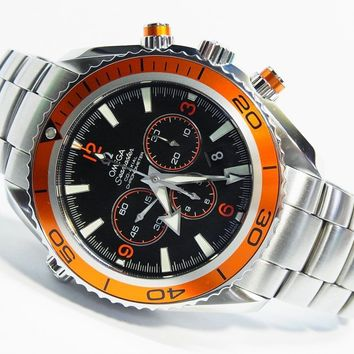 45mm Omega 22185000 Orange Seamaster Planet Ocean CO-AXIAL Chronograph Watch