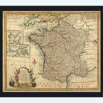 Old Map of France 1747