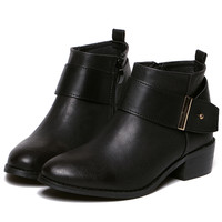 Black Buckle Strap Zipper PU Boots -SheIn(Sheinside)