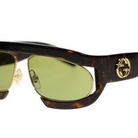 New Gucci Women's Sunglasses GG0233S Havana Gold Green Lens 63mm Authentic