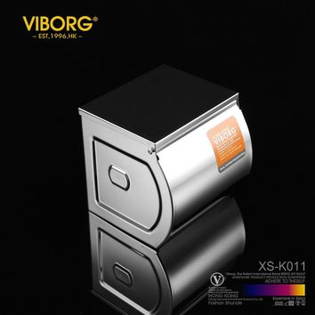 VIBORG Deluxe SUS304 Stainless Steel Wall mounted Tissue Paper Holder Toilet Paper Roll Holder Case Box with Cover XS-K011