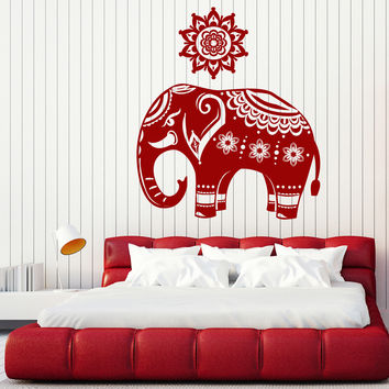 Wall Decal Indian Elephant Pattern on a Mandala Skin Home Interior Decor Unique Gift z4677