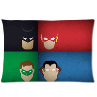 Justice League Superheros Superman Batman Spiderman Green Lantern 2 Sides 20X30 Inch Zippered Soft Cotton Pillow Covers Decorative Cushion Covers = 1928042244