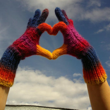 Rainbow Multicolor Handknit Gloves Wool Winter Fashion Women Accessories Heart Love Gift For Her designed by dodofit on Etsy