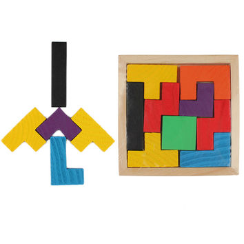 1Pcs Kids Wooden Puzzle Toy Tetris Game Educational Toys Children Mental Development Jigsaw Board Baby Boys Girls Tangram Gift
