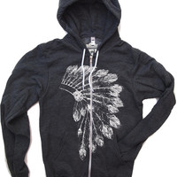 Unisex Native American HEADDRESS Flex Fleece Zip Hoody in Dark Heather Grey - American apparel all sizes XS S M L XL