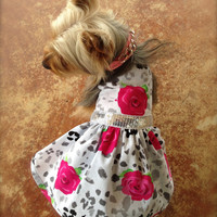 Dog Pet Clothing Dress - Custom Made to order -  Cheetah Rose