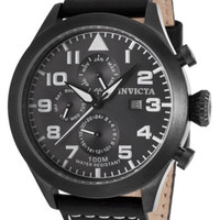 Invicta 17017 Men's I-Force Black Genuine Leather Charcoal Dial