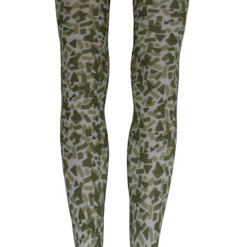 Digital Camouflage Tights in Soft Green and Sage