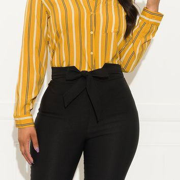 What You Need Striped Blouse Mustard