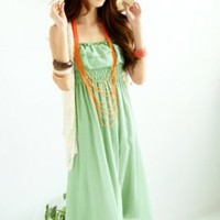 Stylish Light Green Double Layers Chiffon Long Dresses : Wholesaleclothing4u.com