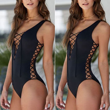 Hot 2016 One-piece Bikini Swimsuit Retro Hollow Bandage Style Padded Women Bikinis Bathing Suit Swimwear New Arrival