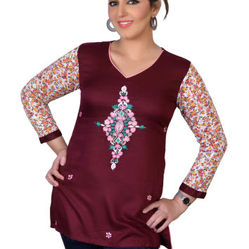 Women's Top Maroon Tunic Top with Floral Print Kurti