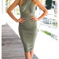Pretty Little Liar Olive Green Sleeveless Cross Wrap Adjustable Tie Waist Ruched Bodycon Midi Dress
