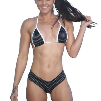 Black Pin Stripe Print Two Piece Short Set-Stripper Clothing