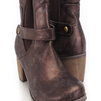 Brown Crinkle Faux Leather Booties