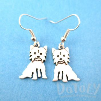 Adorable Yorkshire Terrier Yorkie Dog Shaped Dangle Earrings in Silver | Animal Jewelry